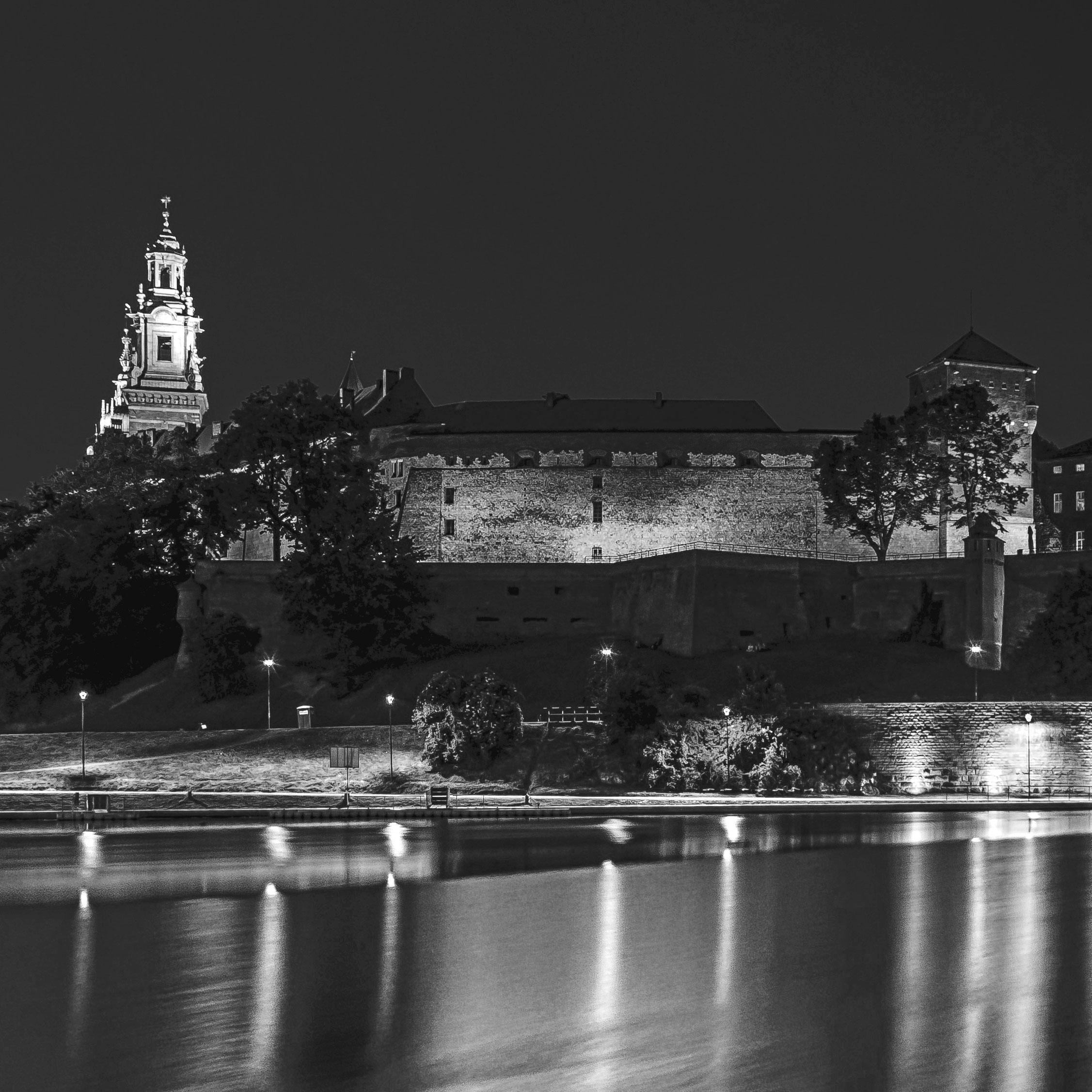 zamek wawel czarno białe